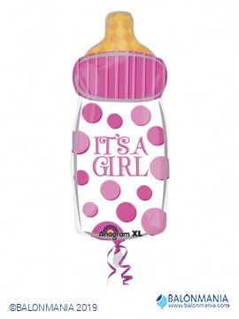 Balon ob rojstvu ROZA Baby Bottle - Its a Girl